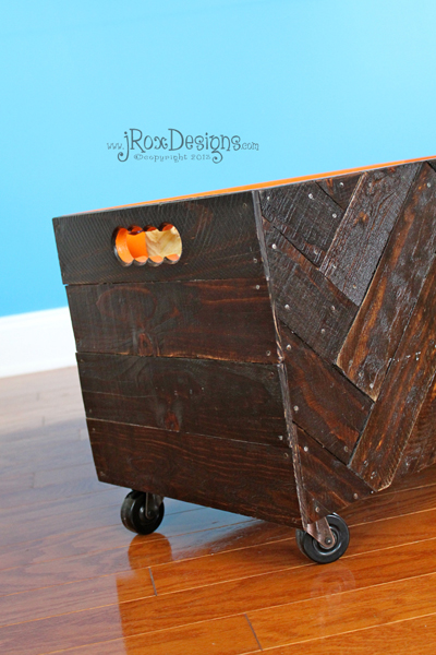 DIY Wooden Herringbone Toy Box