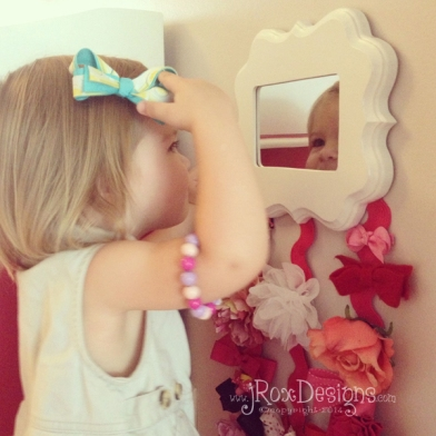 DIY Mirror Hair Bow Holder by jRoxDesigns